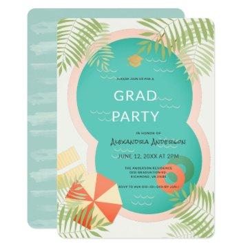 Tropical Pool Graduation Party Invitation