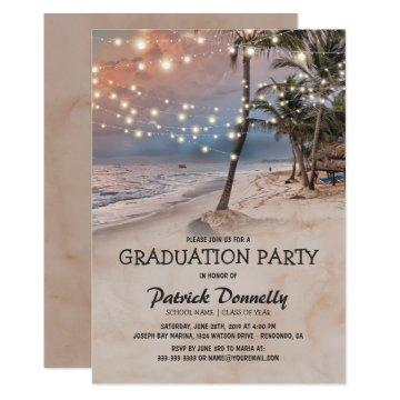 Tropical Vintage Beach 2019 Graduation Party Invitation