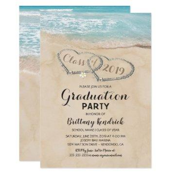 Tropical Vintage Beach Graduation Party Invitation