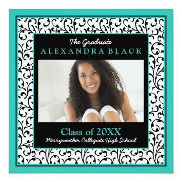 Turquoise Black White Floral Photo Graduation Invitations