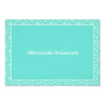 Turquoise Circles Personalized Thank You / Note Card