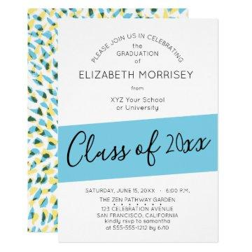 Turquoise Lime Modern Typography Graduation Party Invitation