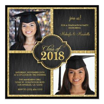 Twins! Elegant Black & Gold Glitter Class of 2018