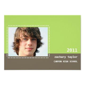 Two Tone Dot Graduation Announcement-lime Card