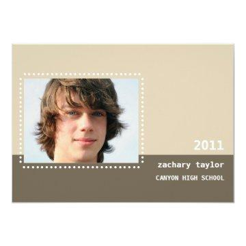 Two Tone Dot Graduation Announcement-sandstone Card
