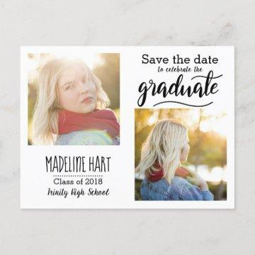 Typography Graduate | Save The Date Two Photo Announcement Postcard