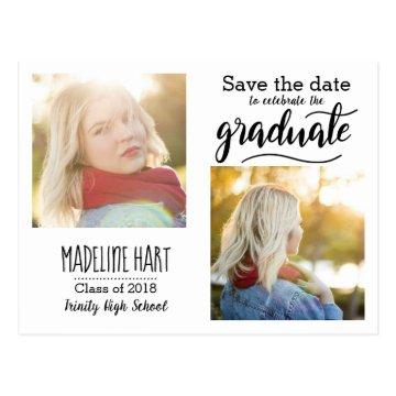 Typography Graduate | Save The Date Two Photo Postcard