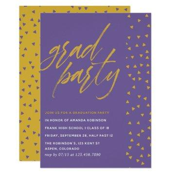 Ultra Violet and Gold confetti Graduation Party Invitation