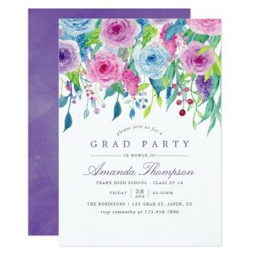 Ultra Violet Watercolor Floral Graduation Party Invitation