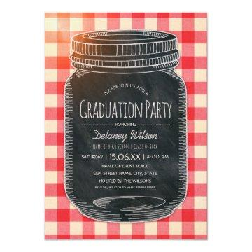 Unique Graduation Party Rustic Country Mason Jar Invitation