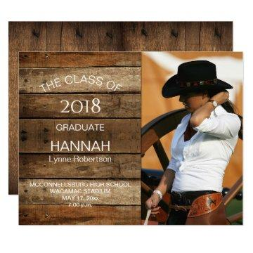 Unisex Rustic Barnwood Photo Graduation Horizontal Card