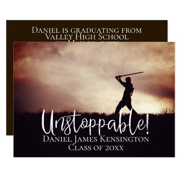 Unstoppable Modern Grad Photo Classic Graduation Card