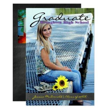 Vertical Graduate Photo - 3x5 Chalkboard Stripe Card