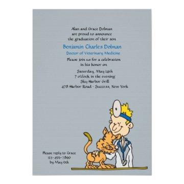 Veterinarian With Cat Graduation Invitation
