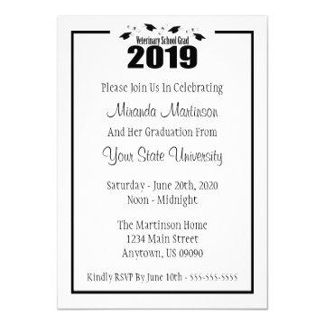 Veterinary Grad 2019 Graduation Invitation (Black)