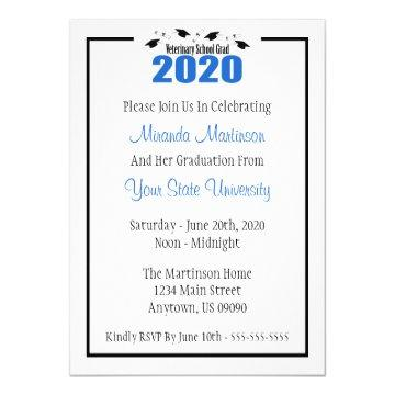 Veterinary Grad 2020 Graduation Invitation (Blue)