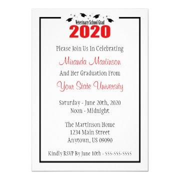 Veterinary Grad 2020 Graduation Invitation (Red)