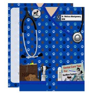 Veterinary Graduate Announcement In Pattern Blue
