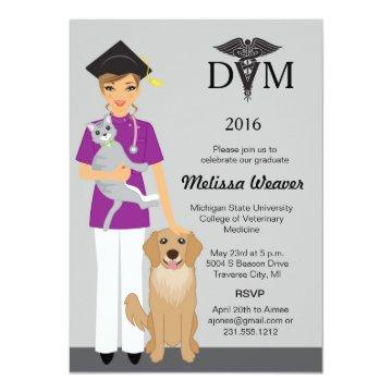 Veterinary School Graduation Invitation | Female