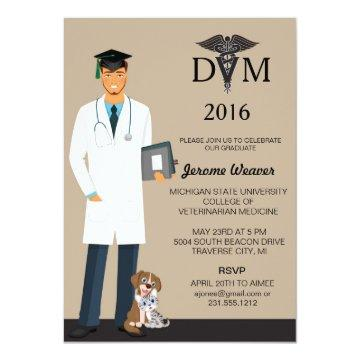 Veterinary School Graduation Invitation | Male