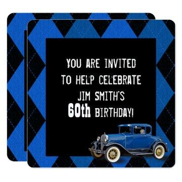 Vintage Car Birthday Invite