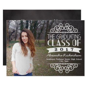 Vintage Chalkboard Overlay 2017 Photo Graduation Card