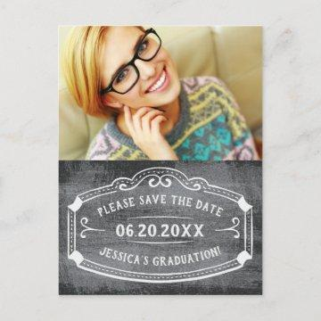 Vintage Chalkboard Save The Date Graduation Photo Announcement Postcard