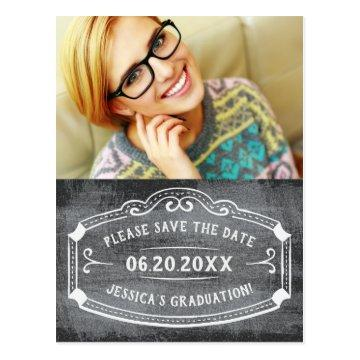 Vintage Chalkboard Save The Date Graduation Photo Postcard