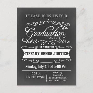 Vintage Chalkboard Typography Graduation party Invitation Postcard