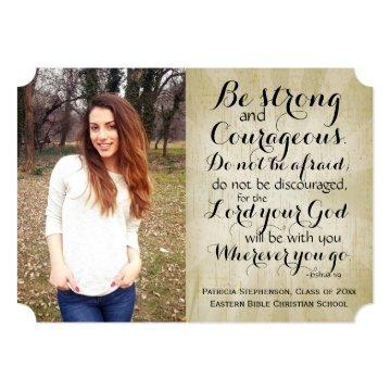 Vintage Christian Bible Verse Photo Graduation Card