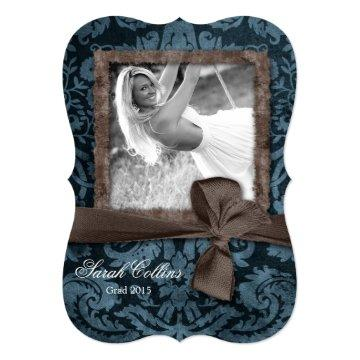 Vintage Damask Bow Grad Photo Card