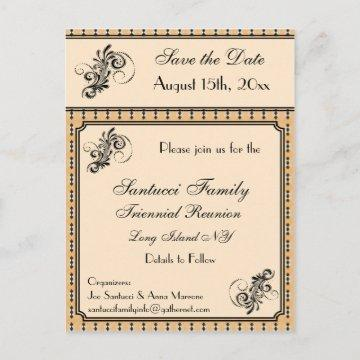 Vintage Design Reunion, Event, Party Save the Date Announcement Postcard