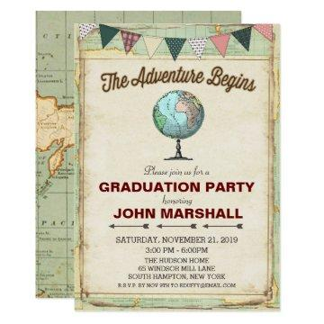 Vintage Globe Travel Graduation Party Invitation