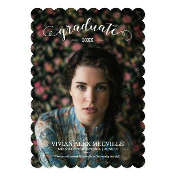 Vintage Graduate 1 Photo Graduation Announcement