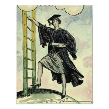Vintage Graduation, Climbing the Corporate Ladder Card