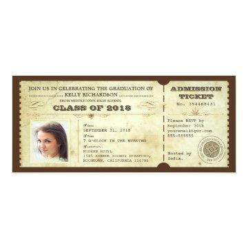 vintage graduation tickets with photo card