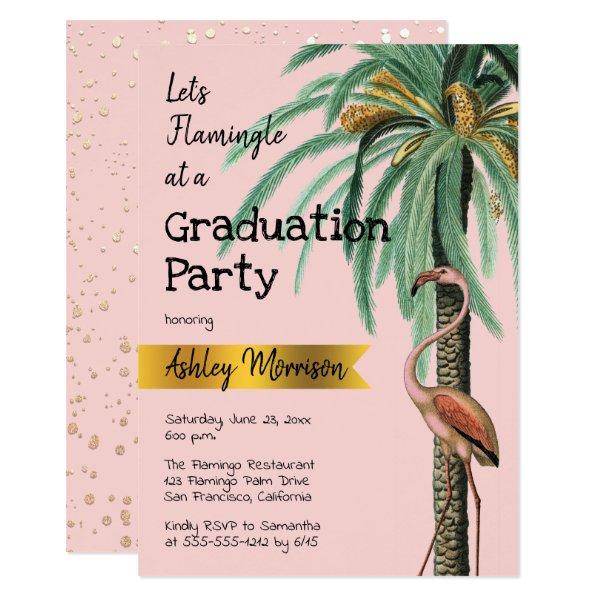 Vintage Modern Pink Flamingo Palm Tree Grad Party Card