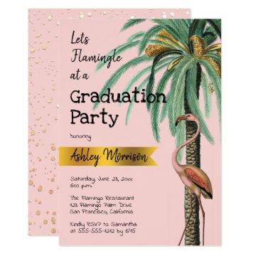Vintage Modern Pink Flamingo Palm Tree Grad Party Invitation