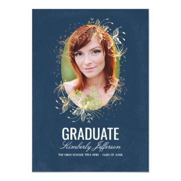 Vintage Navy and Gold Floral Photo Graduation