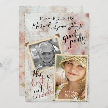 Vintage PHOTO Frames Then and Now Graduation Invitation