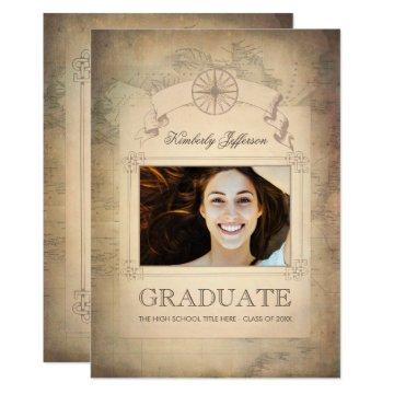 Vintage World Travel Map Graduation Party Card