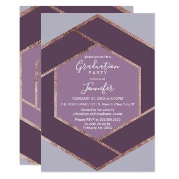 Violet Lilac Purple Rose Gold Hexagon Graduation Invitation