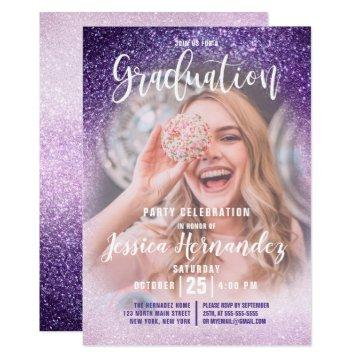 Violet Lilac Triple Glitter Ombre Photo Graduation Invitation