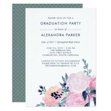 Watercolor Blush and Navy Floral Graduation Party Card