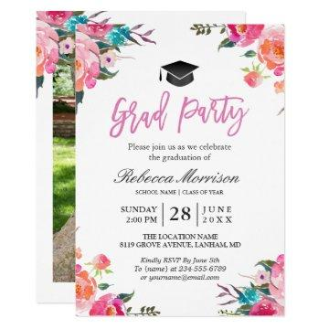 Pink graduation invitations graduation invitations watercolor botanical pink floral graduation party filmwisefo