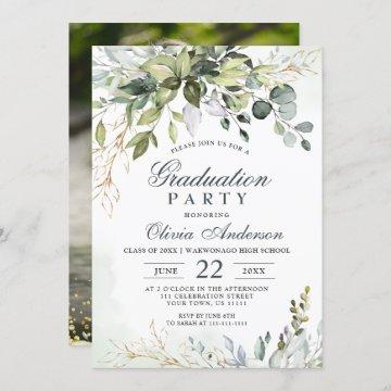 Watercolor Eucalyptus Greenery PHOTO Graduation Invitation