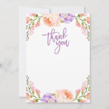 Watercolor Floral Blank Thank You Card