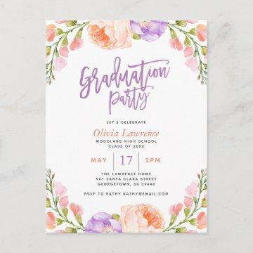 Watercolor Floral Photo Graduation Party Invite