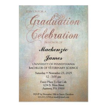 Watercolor Graduation Party  Rose Gold