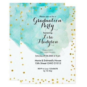 Watercolor Graduation Party Invite card Mint
